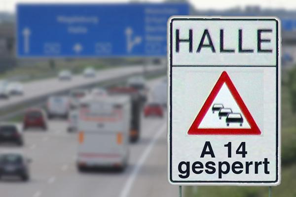 Verkehrschaos auf der Autobahn A 14 bei Halle nach Vollsperrung wegen einsturzgefährdeter Brücke
