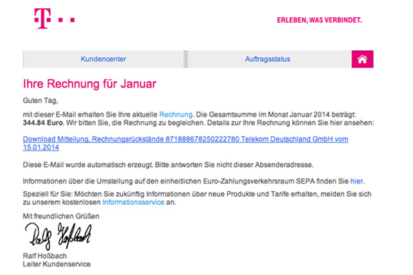 neue phishing mail spam welle falscher rechnung von. Black Bedroom Furniture Sets. Home Design Ideas